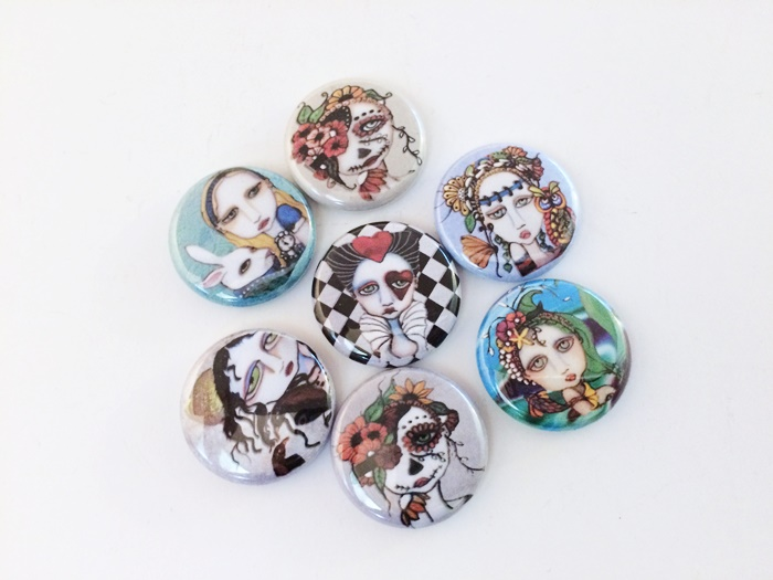1 inch Painted Lady Round Magnetic Cabochons