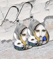 Alice and the White Rabbit Guitar Pick Earrings