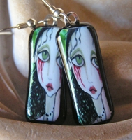 Bleeding Heart Fused Glass Image Earrings