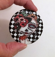 Day of the Dead with black and white background round