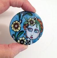 "Flower Power 2"" round porcelain Cabochon"