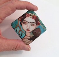 "Frida and Monkey 2""  Porcelain Cabochon"