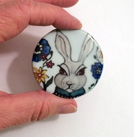Garden Rabbit 2 inch round cabochon