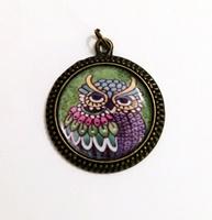 Green Owl Pendant Charm