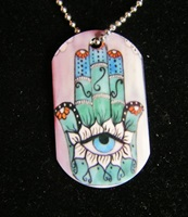 Hand Of Fatima Dog Tag Necklace