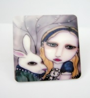 Alice In Wonderland and White Rabbit Magnet