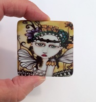 Moonflower 2 inch Square Cabochon