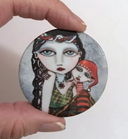 Naughty or Nice 2 inch round cabochon