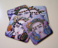 Painted Lady and Owl Coasters