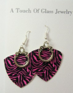 Pink Zebra Earrings