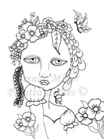 Spring Is In The Air Painted Lady Coloring Page