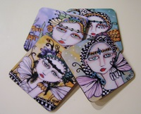 Whimsical Painted Lady Coasters