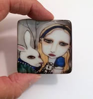 Alice and the White Rabbit 2 inch square Cabochon