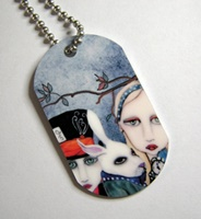 Alice and the Tea Party Dog Tag Necklace