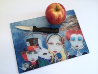 Alice In Wonderland Glass Cutting Board
