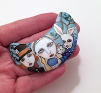 Alice In Wonderland Crescent Cabochon Pendant