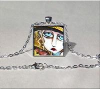 Bitten Square Pendant Necklace