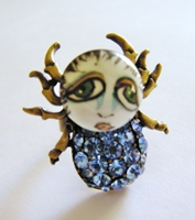 Blue Rhinestone SNOOKS Spider Ring