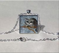 Cheschire Cat Square Pendant Necklace