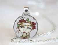 Christmas Cheers Round Pendant Necklace
