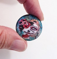 Day Of The Dead 19 1 inch Cabochon with magnet