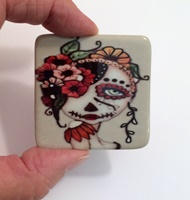 Day Of The Dead 19 2 inch Square Cabochon