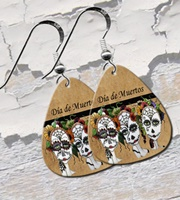 Day Of The Dead Trio Guitar Pick Earrings