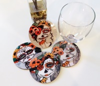 Day Of The Dead Round Coasters