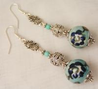 Turquoise Flower Glass Bead Dangle Earrings