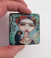 Frida and Parrot 2 inch cabochon