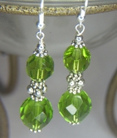 Green Faceted Dangle Earrings