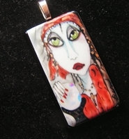 Gypsy Fortuneteller Glass Pendant