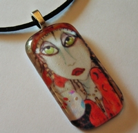 Gypsy Fortuneteller Glass Tile Necklace