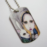 Alice and The White Rabbit Dog Tag Necklace