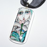 Mermaid and Dragonflies glass necklace