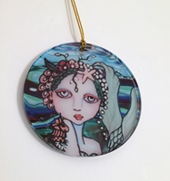 Mermaid and Pearls 3 inch Acrylic Ornament