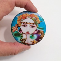 Mermaid and Seahorse Button