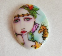Mermaids and Seahorse Porcelain Cameo
