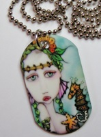 Painted Lady Dog Tag Necklace