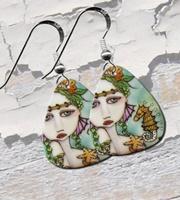 Mermaid and Seahorse Guitar Pick Earrings