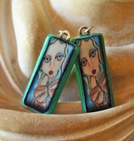 Mimzy Fused Glass Image Earrings