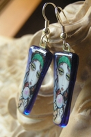 Fortuneteller and her Cat Friends Blue Fused Glass Image Earrings