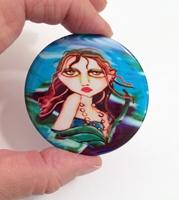 Oceans Blue Mermaid Button