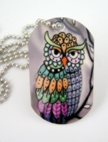 Pandora Owl Dog Tag Necklace