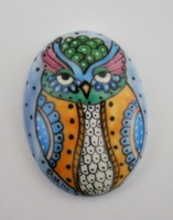 Owl 7 Painted Porcelain Cameo