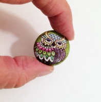 Green Owl 1 inch magnetic bead