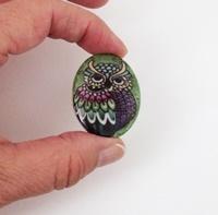 Owl in Green Cameo
