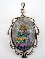 Owl 5 Painted Porelain Cameo