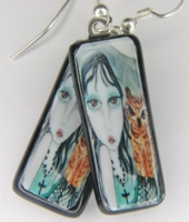 Night Owls Fused Glass Image Earrings