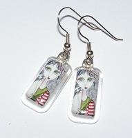Peppermint Patti Clear Glass Image Earrings